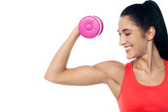 Pretty woman working out with dumbbell Royalty Free Stock Images
