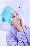 Pretty woman wrapped in towel Stock Photo