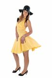 Pretty woman in yellow dress Royalty Free Stock Photos