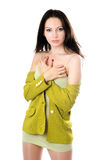 Pretty woman in yellow knitted jacket Stock Image