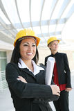 Pretty Women Architects on Construction Site Stock Photo