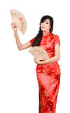 Pretty women with Chinese traditional dress Cheongsam and hole C Stock Images