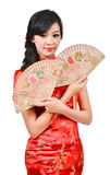 Pretty women with Chinese traditional dress Cheongsam and hole C Stock Photos
