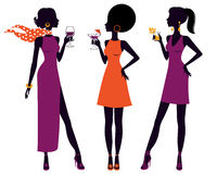 Pretty women at cocktail party. An illustration of pretty women having cocktail party Royalty Free Stock Images