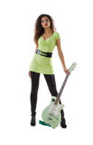 Pretty women and electric guitar Stock Image