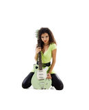 Pretty women with electric guitar Royalty Free Stock Photo