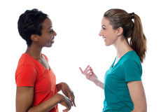 Pretty women having a discussion. Two charming friends discussing something Royalty Free Stock Images