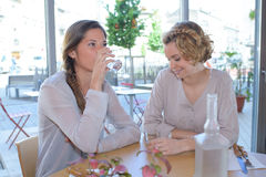 Pretty women having lunch in restaurant royalty free stock images