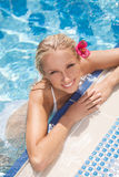 Pretty women in pool. Top view of attractive young women in biki Royalty Free Stock Images