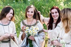 Pretty women relaxing in forest Royalty Free Stock Photography