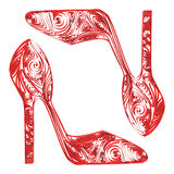 Pretty women's shoes in technology quilling Stock Image