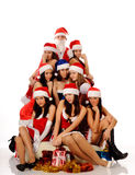 Pretty women and Santa Claus Royalty Free Stock Photography