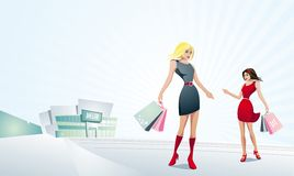 Pretty women shopping. Pretty women shopping and standing in front of a mall. Full editable vector illustration Royalty Free Stock Images