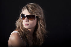 Pretty women with sunglasses stock images