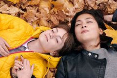 Pretty woman and teen girl are posing in autumn park. They are lying on fallen leaves. Beautiful landscape at fall season stock image