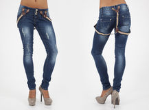 Pretty women in tight jeans Stock Photography