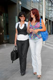 Pretty women walking. Down the street Royalty Free Stock Photography