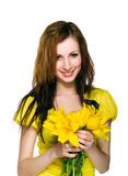 Pretty women with yellow flowers Stock Photos
