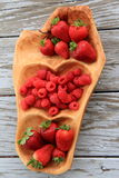Pretty wood tray with seasonal fresh fruit Royalty Free Stock Images