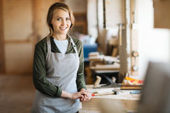 Pretty woodworker Royalty Free Stock Photo