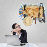 Pretty worker dreaming about vacation Royalty Free Stock Image