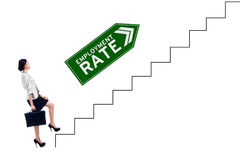 Pretty worker and employment rate text on stairs Stock Images