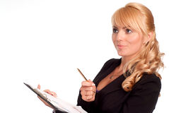 Pretty worker with lists Royalty Free Stock Images