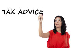 Pretty worker makes tax advice Royalty Free Stock Photography