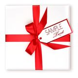 Pretty Wrapped Holiday Gift With Red Ribbon and Gi Stock Photography
