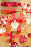 Pretty wrapped parcels for christmas royalty free stock photo