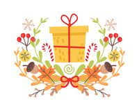 Pretty Yellow Christmas Badge on White Background. Vector illustration of holiday decor elements autumn leaves, red guelder roses and small acorns. Wreath Stock Photo