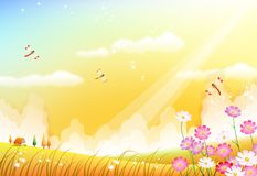 Pretty Yellow Meadow. With barnhouse,grass, flowers and dragonflies Royalty Free Stock Photography