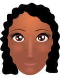 Pretty young african american woman with beautiful hair. Vector illustration Royalty Free Stock Photos