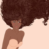 Pretty young african american woman with long hair royalty free illustration