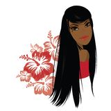 Pretty young african american woman, Vector illustration. Royalty Free Stock Photography