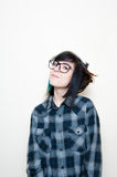 Pretty young altermative woman with big glasses Stock Photos