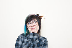 Pretty young altermative woman with big glasses Royalty Free Stock Photos