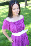 Pretty Young Asian Woman in the Park Royalty Free Stock Images