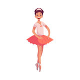 Pretty young ballerina in pink tutu standing on toes Stock Image