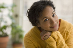 Pretty young black woman stock photo