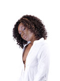 Pretty Young Black Woman in Open White Shirt Royalty Free Stock Photo
