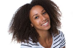 Pretty young black woman smiling Stock Image