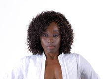 Pretty Young Black woman with white open shirt Royalty Free Stock Photography