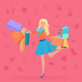 Pretty young blond with the shopping bags vector illustration. Shopping icons backgrouns. Royalty Free Stock Images