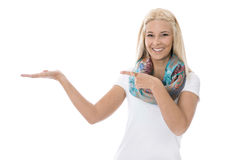 Pretty young blond woman isolated over white making presentation Royalty Free Stock Photo