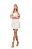 The pretty young blond woman isolated on white Stock Photos