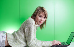 Pretty young blonde college student Royalty Free Stock Image