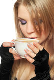 Pretty young blonde with a cup of tea. Isolated Royalty Free Stock Image