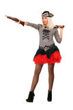 Pretty young blonde with guns Royalty Free Stock Image