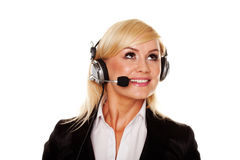 Pretty young blonde with headphones Stock Photos
